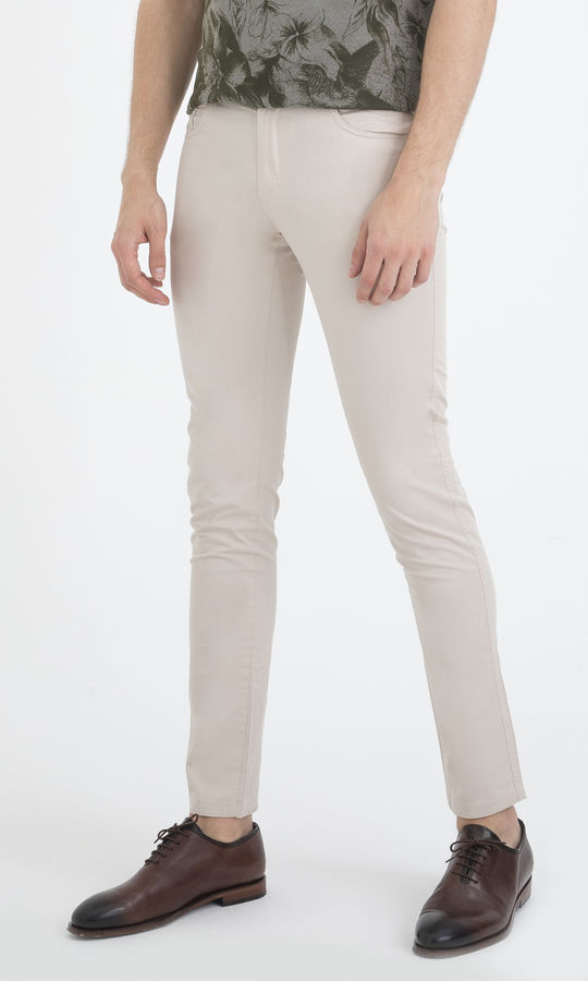 Slim Fit Bej Pantolon