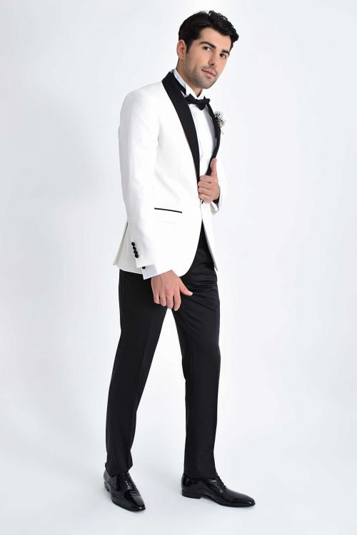 Slim Fit Beyaz Damatlık /Smokin