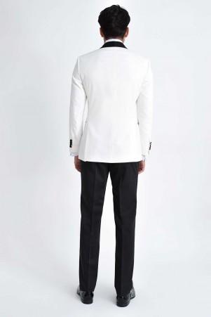 Beyaz Şal Yaka Slim Fit Damatlık - Thumbnail