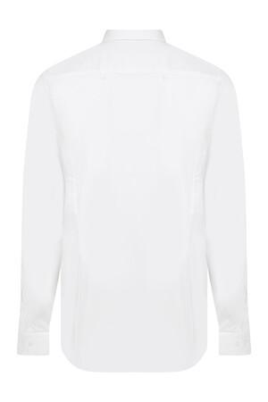 Beyaz Yaka Düğmeli Slim Fit Spor Gömlek - Thumbnail