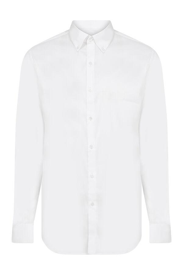 Beyaz Yaka Düğmeli Slim Fit Spor Gömlek