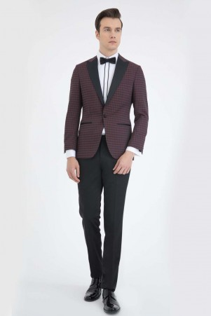 Slim Fit Bordo Damatlık/Smokin - Thumbnail