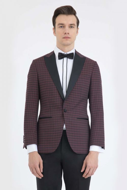 Slim Fit Bordo Damatlık/Smokin