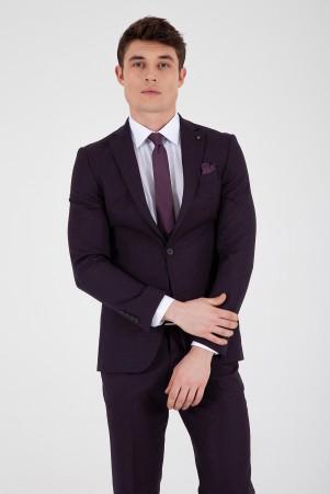Bordo Slim Fit Yelekli Takım Elbise - Thumbnail