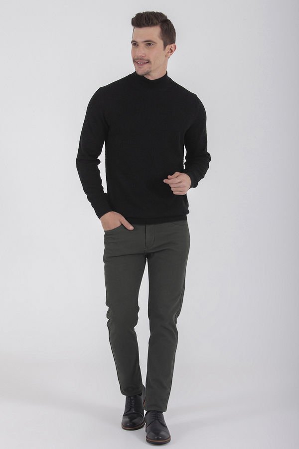 Hatem Saykı - Slim Fit Desenli Haki Pantolon (1)