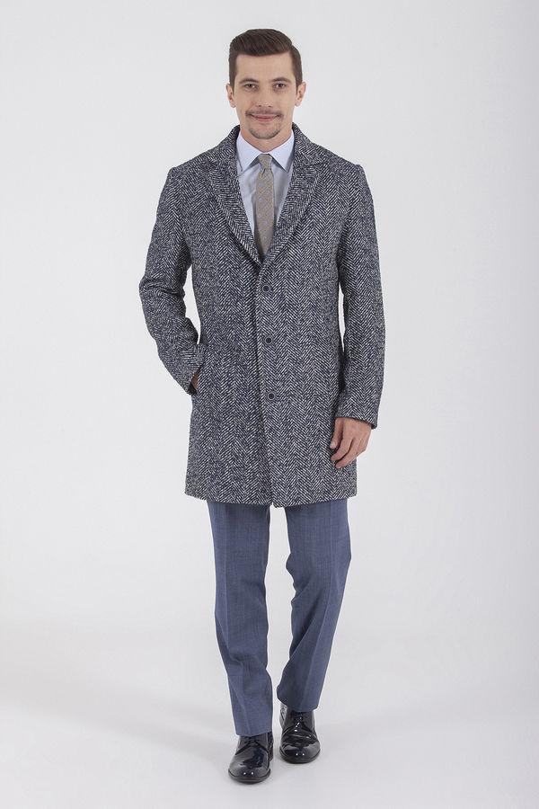 Slim Fit Desenli Lacivert Palto