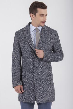Slim Fit Desenli Lacivert Palto - Thumbnail