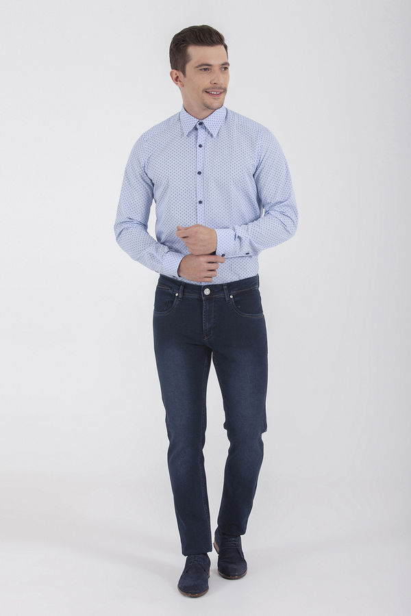 Hatem Saykı - Slim Fit Desenli Lacivert Pantolon (1)