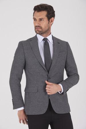Hatem Saykı - Gri Slim Fit Desenli Ceket