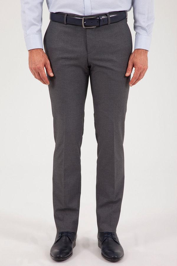 Hatem Saykı - Gri Slim Fit Yünlü Kumaş Pantolon