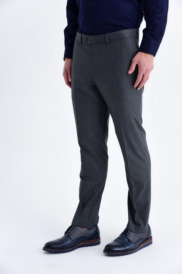 Hatemoğlu - Gri Slim Fit Kumaş Pantolon
