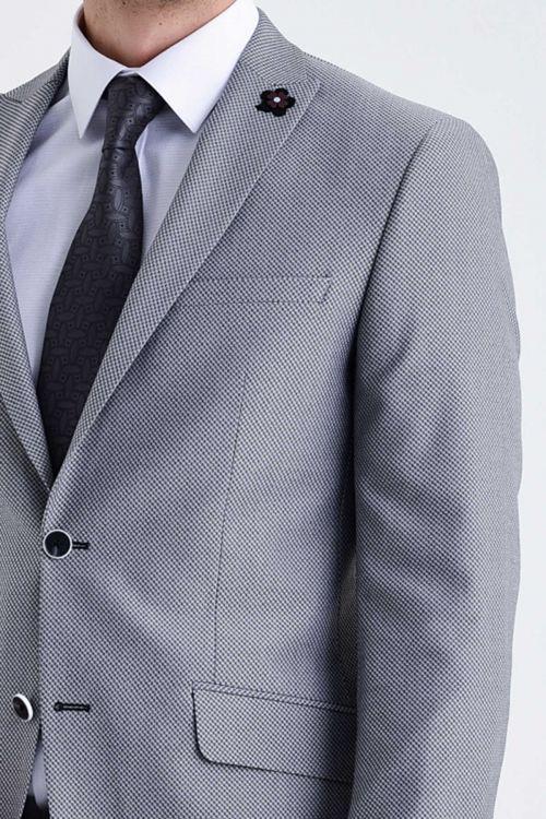 Gri Desenli Slim Fit Takım Elbise