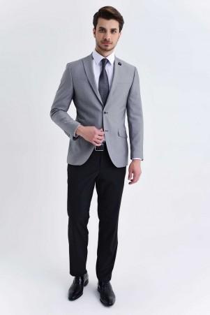HTML - Gri Desenli Slim Fit Takım Elbise
