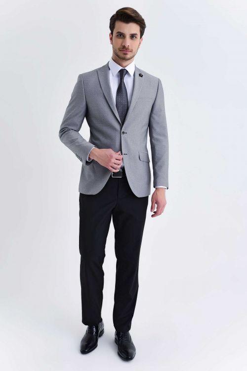 HTML - Slim Fit Gri Takım Elbise