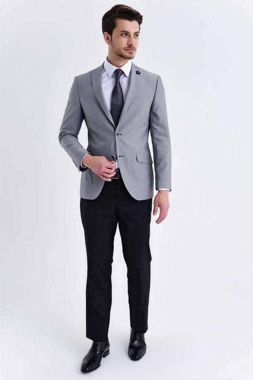 HTML - Gri Desenli Slim Fit Takım Elbise (1)