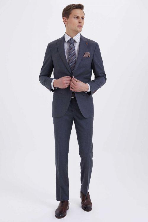 Hatem Saykı - Slim Fit Gri Takım Elbise (1)