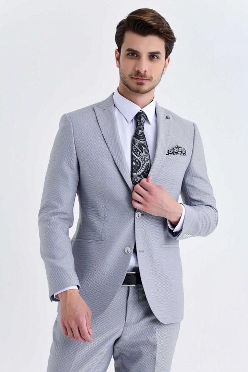 Slim Fit Gri Takım Elbise