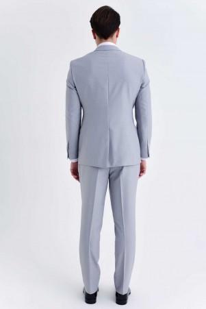Slim Fit Gri Takım Elbise - Thumbnail