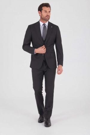 Hatem Saykı - Antrasit Slim Fit Yelekli Takım Elbise