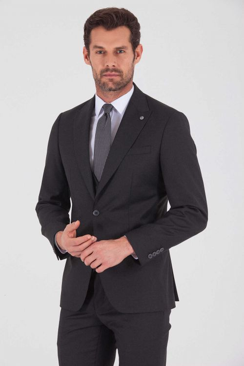 Antrasit Slim Fit Yelekli Takım Elbise