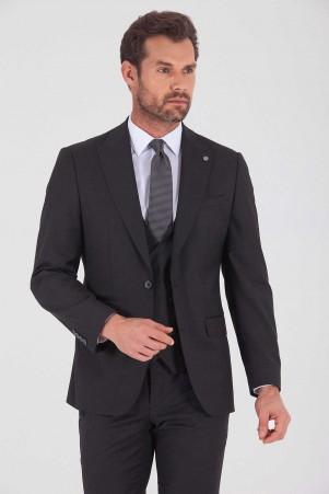 Antrasit Slim Fit Yelekli Takım Elbise - Thumbnail