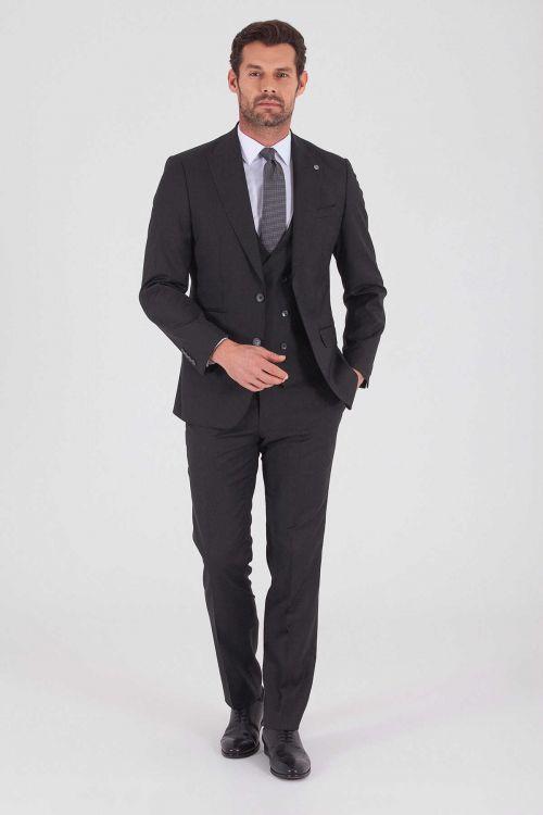 Hatem Saykı - Antrasit Slim Fit Yelekli Takım Elbise (1)