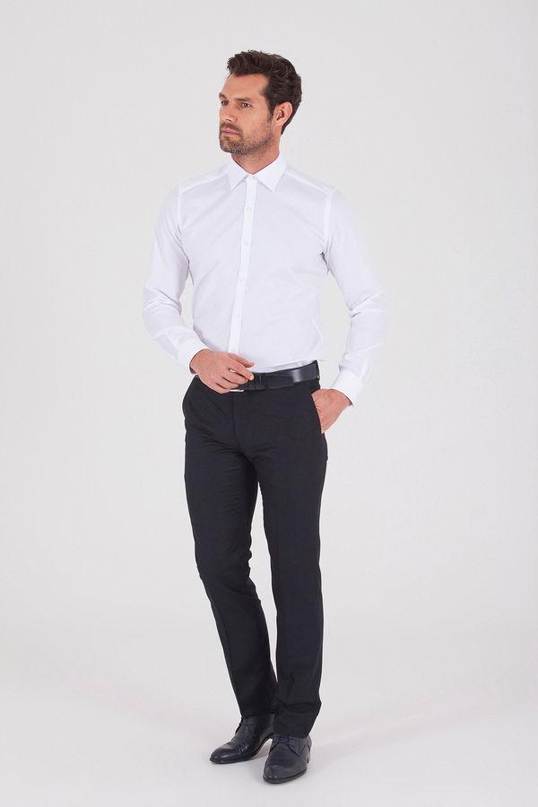 Hatem Saykı - Siyah Slim Fit Yünlü Kumaş Pantolon (1)