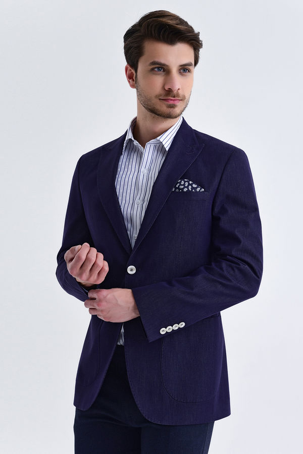 Hatem Saykı - Slim Fit Lacivert Ceket