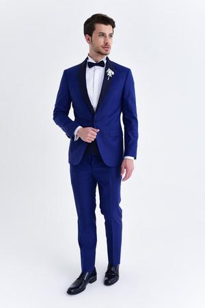 Hatem Saykı - Mavi Slim Fit Şal Yaka Damatlık