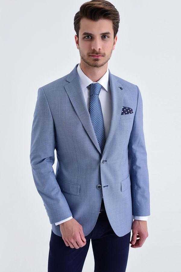 Hatem Saykı - Slim Fit Lacivert Desenli Ceket