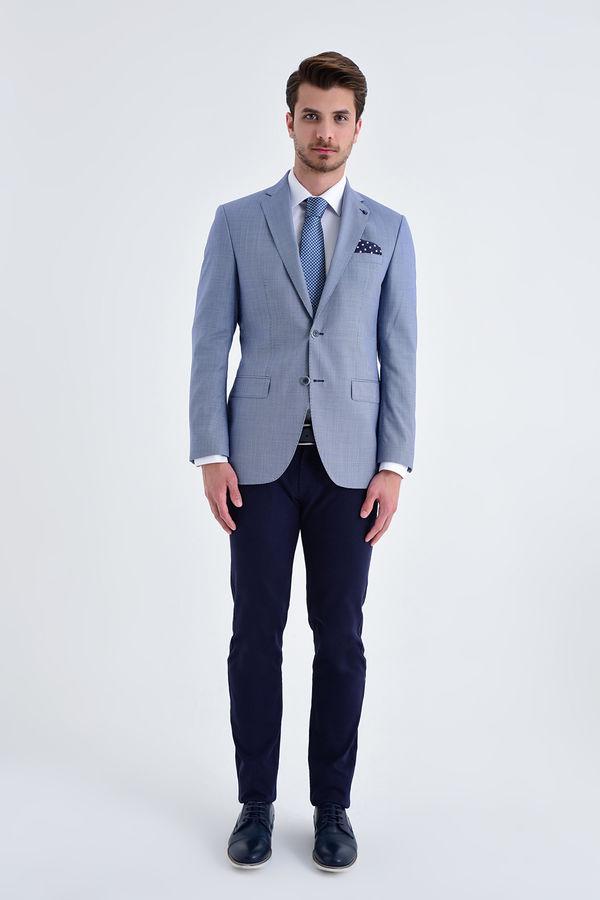 Hatem Saykı - Slim Fit Lacivert Desenli Ceket (1)
