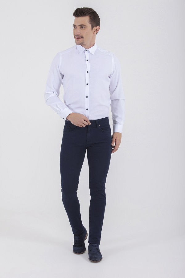 HTML - Slim Fit Lacivert Pantolon (1)