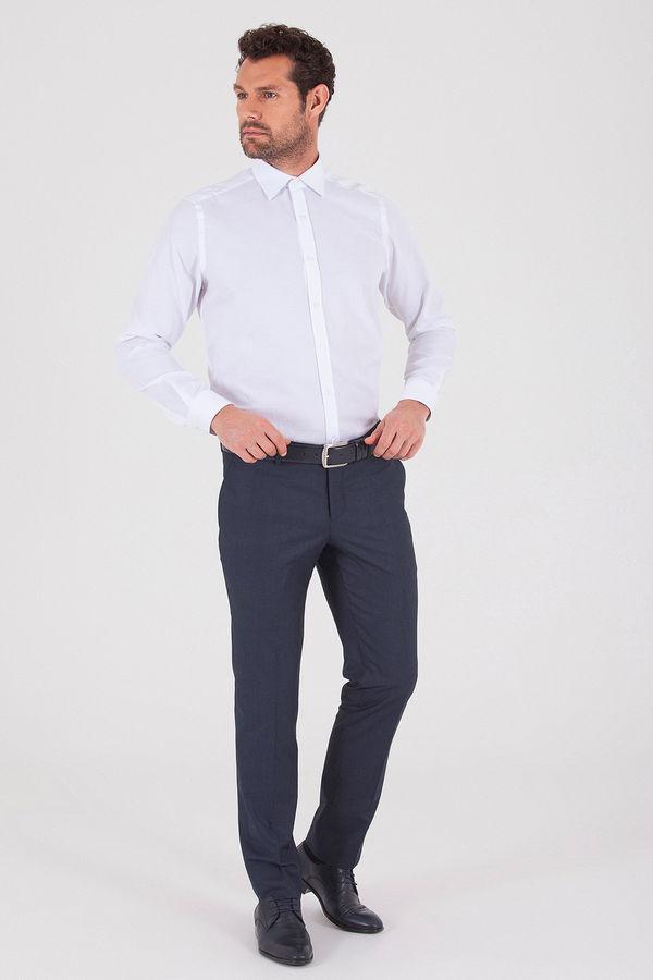 Hatemoğlu - Lacivert Pötikareli Slim Fit Kumaş Pantolon (1)