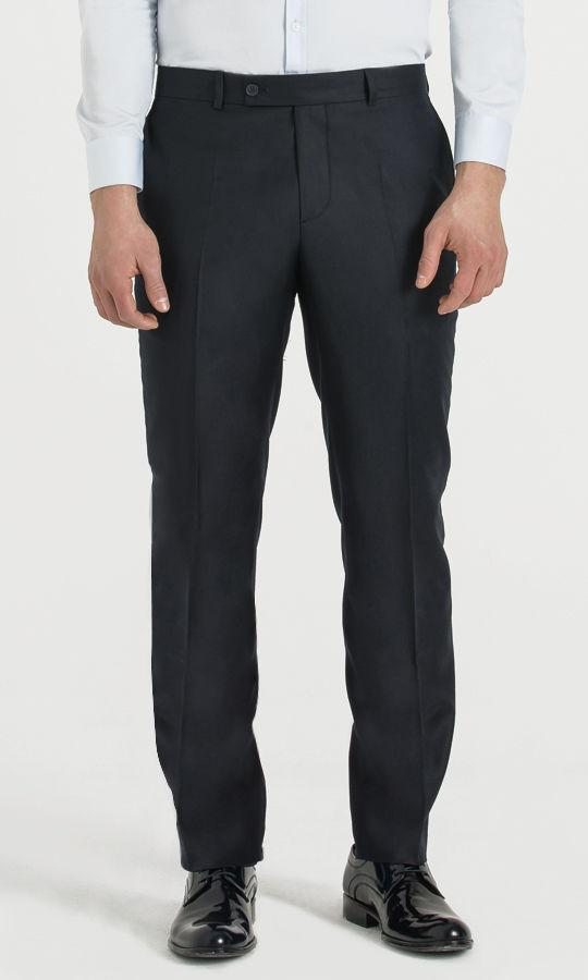 Hatem Saykı - Lacivert Slim Fit Yünlü Kumaş Pantolon