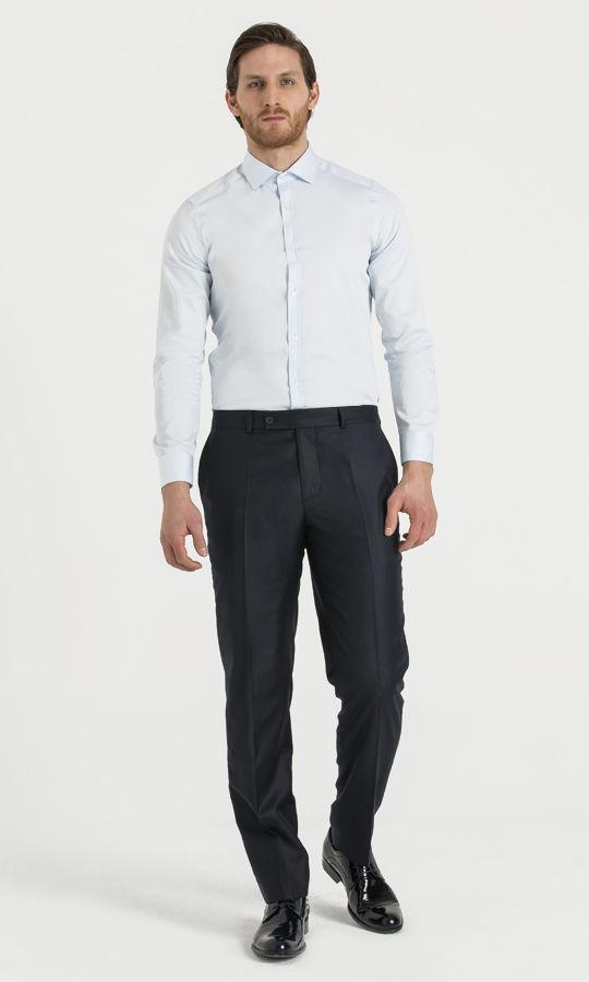 Hatem Saykı - Lacivert Slim Fit Yünlü Kumaş Pantolon (1)