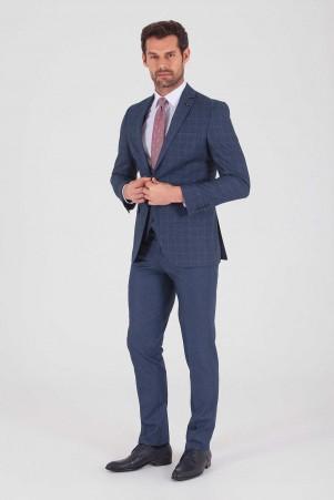 Hatemoğlu - Mavi Kareli Slim Fit Yelekli Takım Elbise (1)