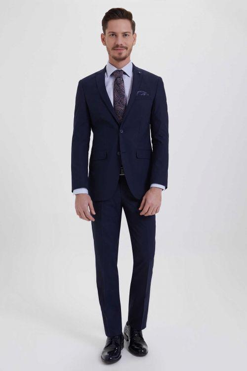 Hatem Saykı - Slim Fit Lacivert Takım Elbise