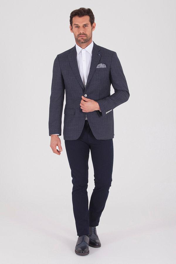 Hatem Saykı - Lacivert Slim Fit Desenli Blazer Ceket (1)