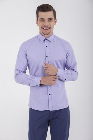 HTML - Slim Fit Lila Spor Gömlek