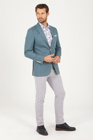 Hatem Saykı - Yeşil Slim Fit Keten Ceket (1)