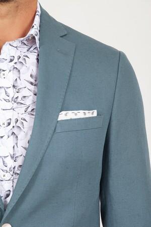 Yeşil Slim Fit Keten Ceket - Thumbnail