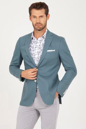 Hatem Saykı - Yeşil Slim Fit Keten Ceket