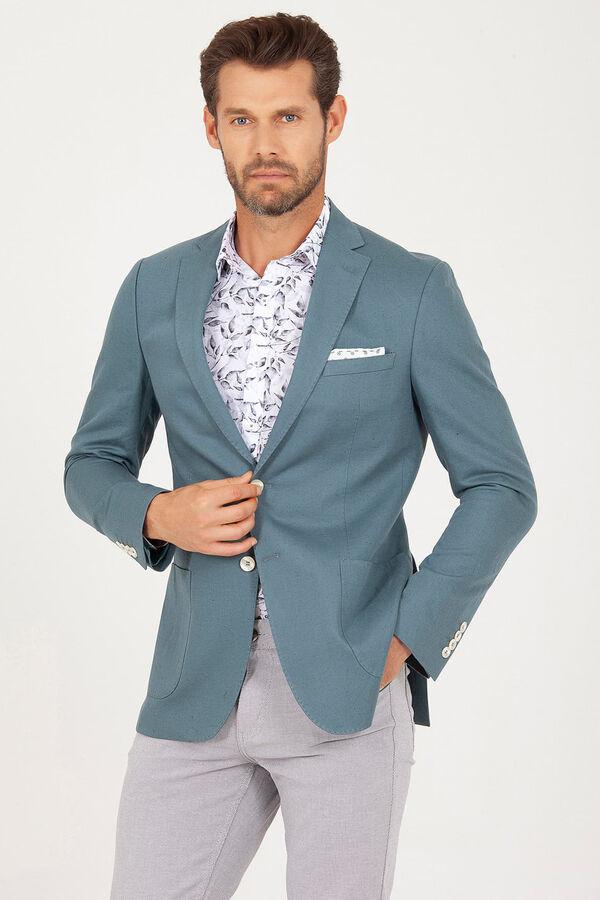 Yeşil Slim Fit Keten Ceket