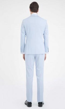 Slim Fit Mavi Damatlık/Smokin - Thumbnail
