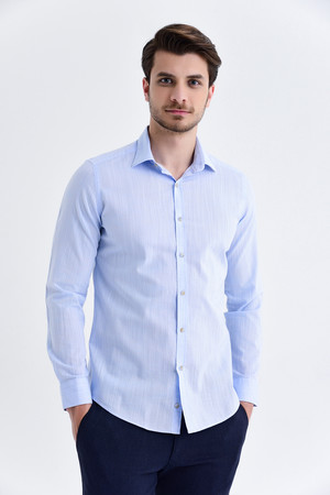 Hatem Saykı - Slim Fit Mavi Gömlek