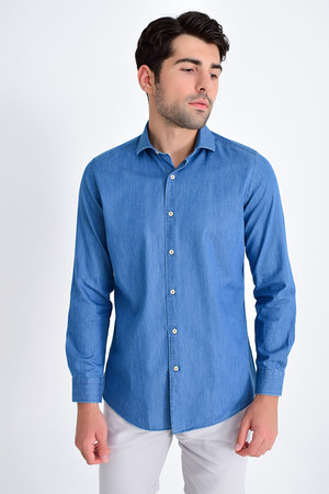 Slim Fit Mavi Gömlek - Thumbnail