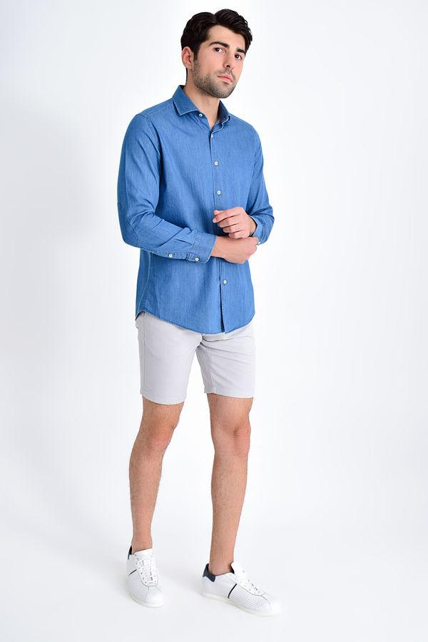 HTML - Slim Fit Mavi Gömlek (1)