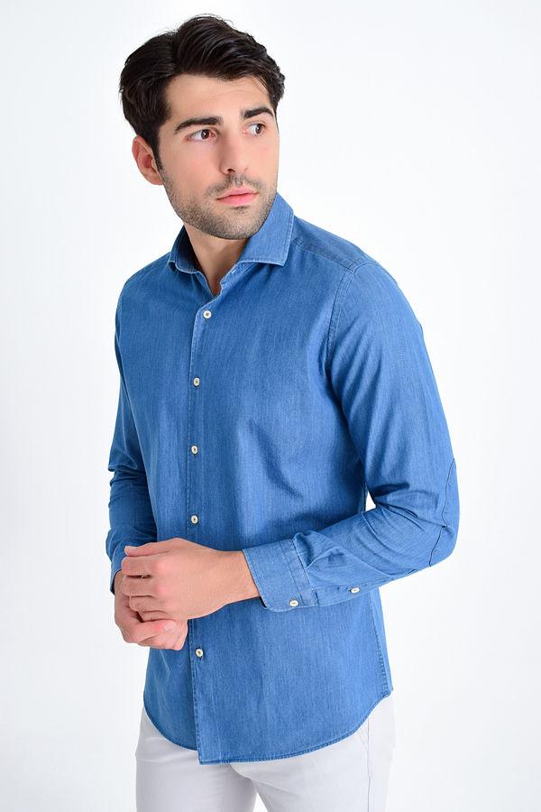 HTML - Slim Fit Mavi Gömlek