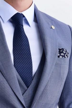 Slim Fit Mavi Takım Elbise - Thumbnail