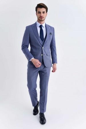 Hatem Saykı - Mavi Desenli Yelekli Takım Elbise